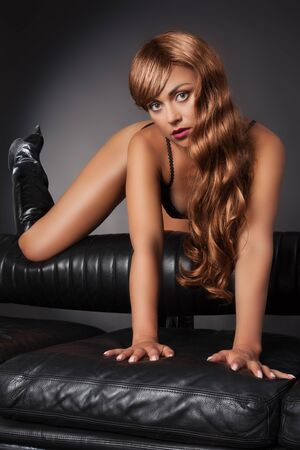 woman with sexy boots Stock Photo