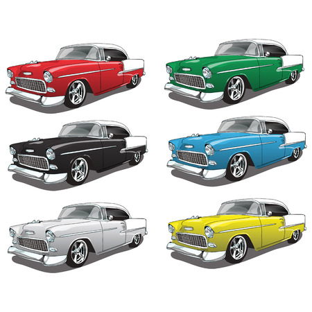 cars on the road: Vintage Classic Car in multiple colors Illustration