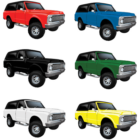 4wd: Vector Vintage Classic truck in multiple colors