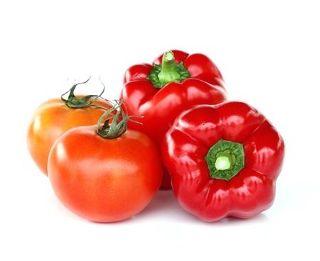 新鮮な赤いトマトとパプリカ 写真素材