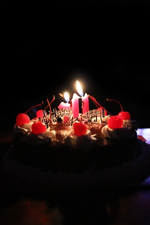 Birthday cake with lighted candles