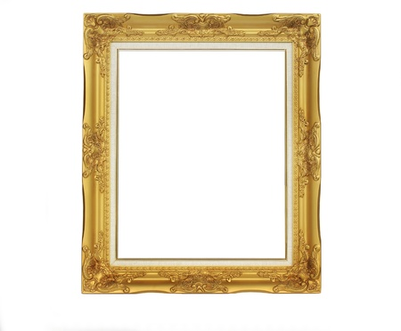 old antique gold frame. Isolated over white background photo