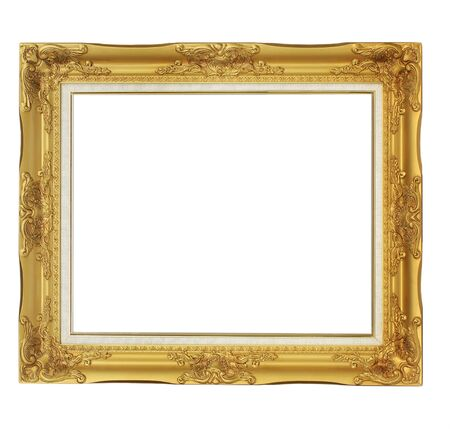 old antique gold frame. Isolated over white background  Stock Photo