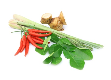 Thai food ingredient for Tom yum kung isolated in white background photo