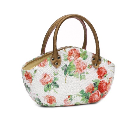 Craft Bag with decoupage on white background photo