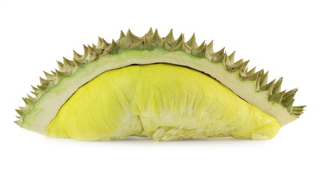 overpowering: Ripe Durian isolate on white background