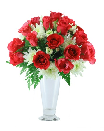 Red roses Arrangement isolated on white background photo
