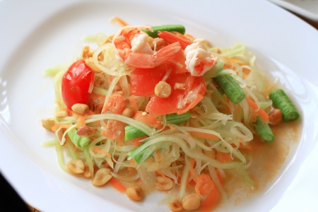 Green papaya salad thai cuisine spicy delicious  photo