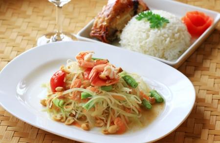 Green papaya salad thai cuisine spicy delicious Stock Photo - 14646995