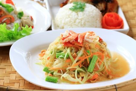 Green papaya salad thai cuisine spicy delicious Stock Photo - 14646997