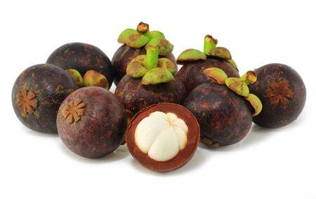 Stock Photo  Mangosteens fruit on white background  photo