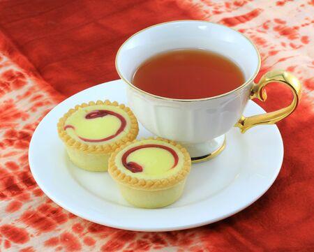 blueberry cheese pie dessert with tea photo