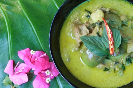 Green pork Curry on green leaf , Thai cuisine  Stock Photo - 18007384