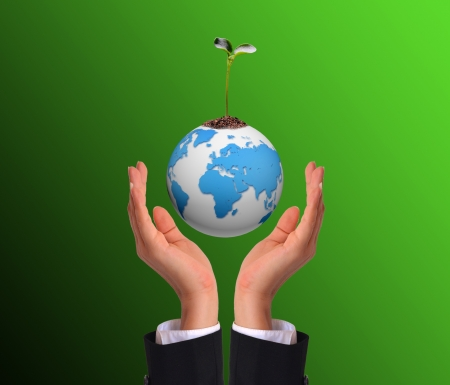 The young sprout grown on Earth , hands, on green background Stock Photo - 20947893