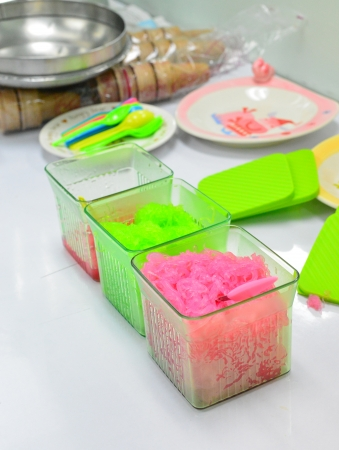Thailand dessert -chilled sweet vermicelli in glass box photo