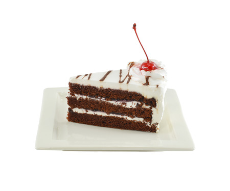 Black forest cake on white plate Stock Photo