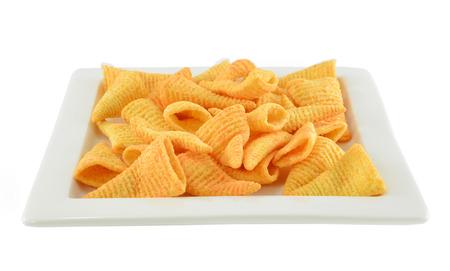 corn chip: Crunchy corn snacks on a white background