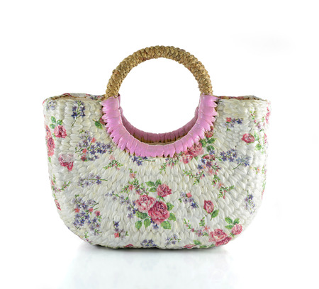 Craft Bag with decoupage on white