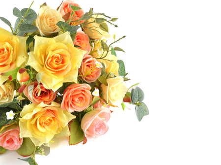 Rose, artificial flowers bouquet  isolated on white photo
