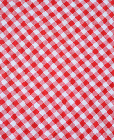 red checkered fabric closeup , tablecloth texture  photo