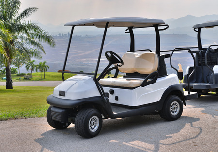 Golf cart or club car at golf course  Stock Photo