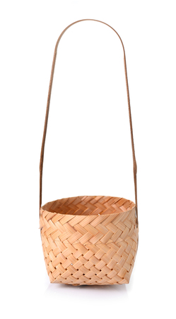 Bamboo basket isolate on white photo