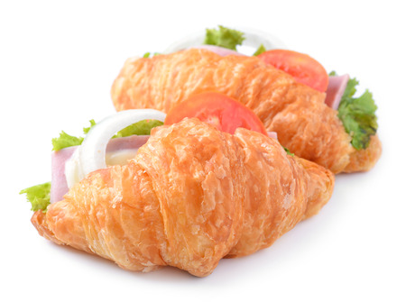 croissant sandwich isolated on white background  photo