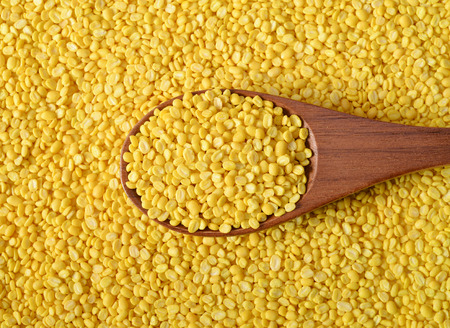 mung: yellow split mung dal, moong dal Stock Photo