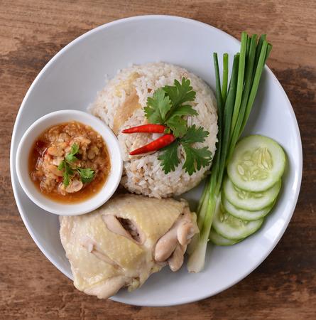 Steam Chicken with Rice, Thai food  photo