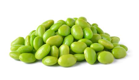 Green soybeans on white  Stock Photo