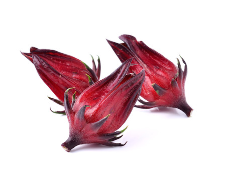 Hibiscus sabdariffa or roselle fruits ob white background photo