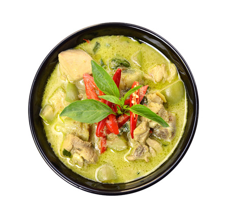 curry spices: Green curry Chicken Intense soup on white, Thai cuisine