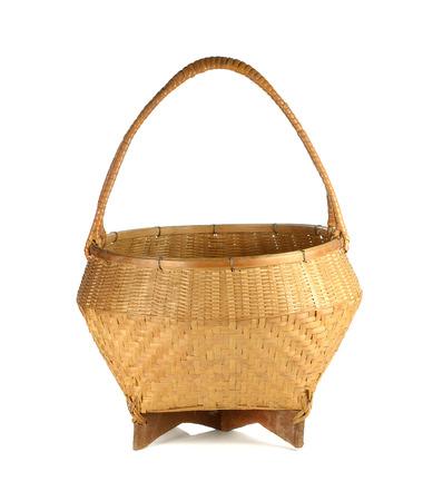 wicker work: Bamboo basket on white