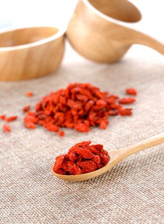 lycii: red dried goji berries ( Lycium Barbarum , Chainese wolfberry )