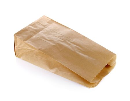 brown paper bag: Brown Paper Bag isolated on a white background