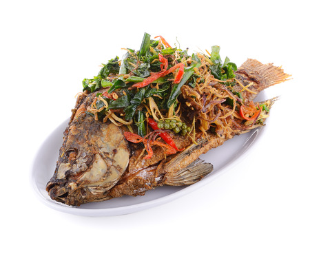 high section: Fried fish with herbs on white