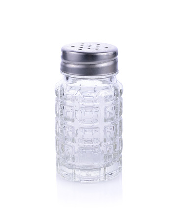 close up food: empty classic shakers on white background
