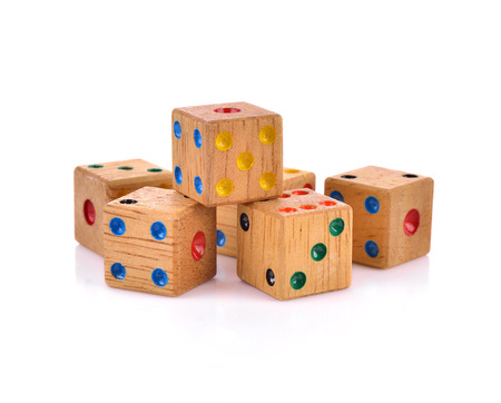 wooden Dice isolated on white Stock Photo - 81404427