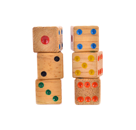 odds: Wooden dice isolated on white
