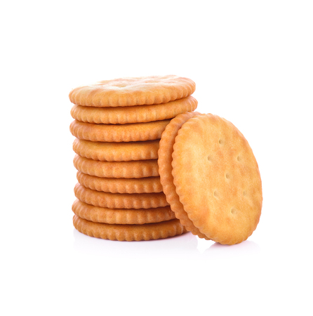 biscuits: Cracker isolated on over white background Stock Photo