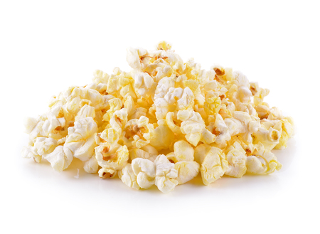 buttered: Popcorn isolated on the white background