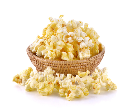 Popcorn in basket on the white background