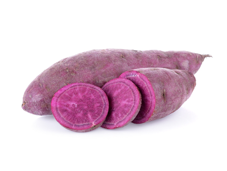 purple sweet yams on white background. Banque d'images