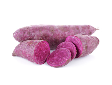purple sweet yams on white background. Stock Photo