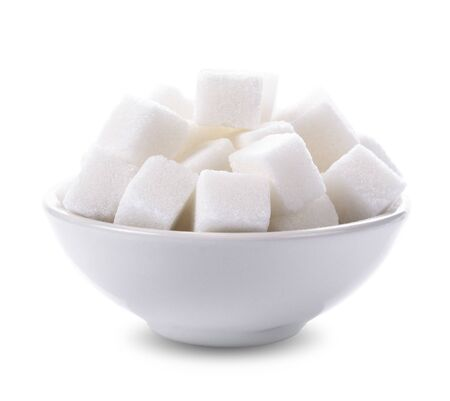 Sugar cubes in a bowl isolated on white background Stockfoto