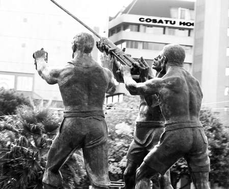 johannesburg: Mine workers statue and Cosatu building in Johannesburg, South Africa Editorial