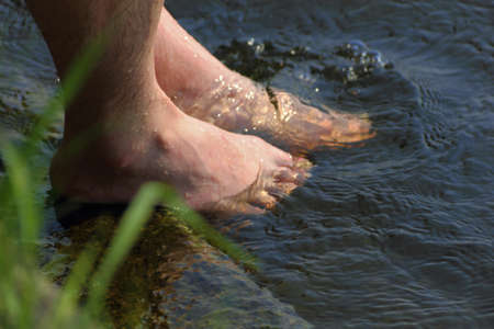 close-up view of feet in water photo