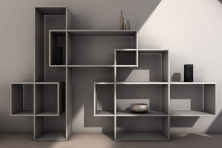 view of modern designed bookcase, computer generated image photo