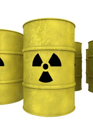 nuclear waste: view of yellow nuclear waste barrel