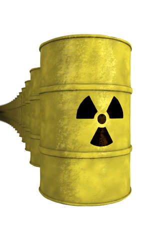 nuclear waste: series of nuclear waste barrel
